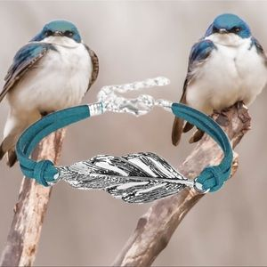 Faster than Flight Blue Feather Suede Bracelet